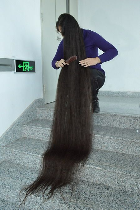 Cut floor length plus long hair