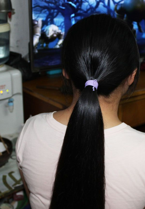 ww cut 65cm and 60cm long hair of 2 sisters-NO.935