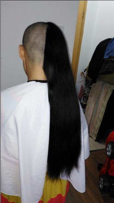 yisi cut 70cm long hair to bald-NO.2034